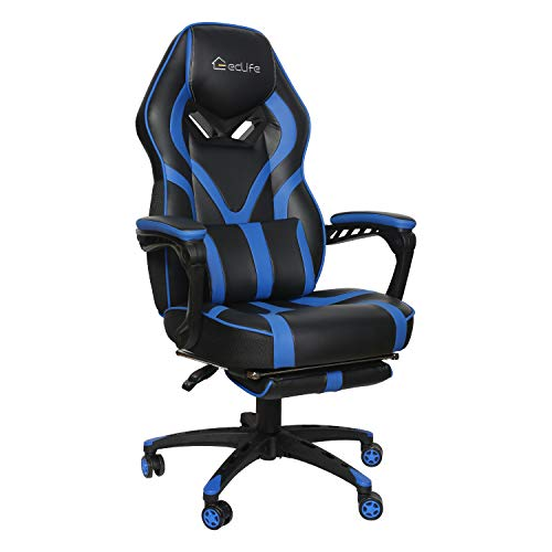 eclife Gaming Chair Office Computer Chair Game Video Chair High Back Ergonomic Backrest Seat Adjustable Swivel Task Chair E-Sports Chair with Lumbar Support and Footrest (OF-D02, Blue) blue chair gaming