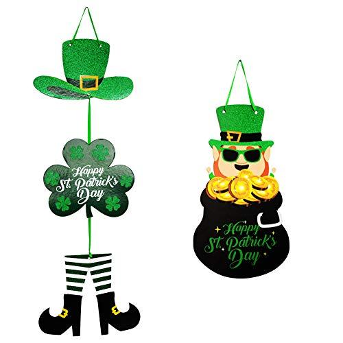 Cardboard St.Patrick's Day Hanging Shamrock Door Hanger Decorations Irish 3D Green Shamrock Welcome Door Sign (Leprechaun)