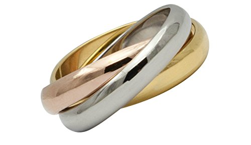 IhnSie Dreierring Gold Rosegold Plated Tricolor Rose Gold Silber (57 (18.1)