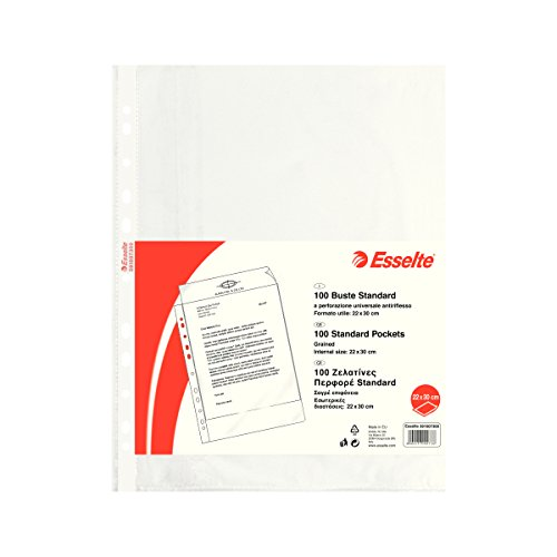ESSELTE Buste perforate STANDARD - PPL antiriflesso - f.to 22 x 30 cm - 391007300