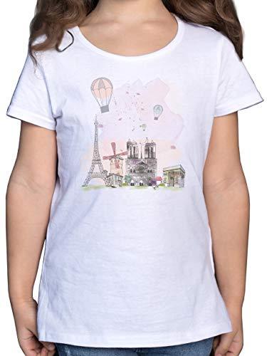 Städte & Länder Kind - Paris Wasserfarbe Watercolour - 164 (14/15 Jahre) - Weiß - t-Shirt für Kinder mädchen - F131K - Mädchen Kinder T-Shirt