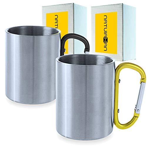 Natuiahan Set de 2 Tazas Premium de Acero Inoxidable Metálico Vasos de Camping para Beber de Metal, sin BPA, de 210 ml. Asas de Mosquetón Negro y Amarillo. Incluye Caja de Regalo