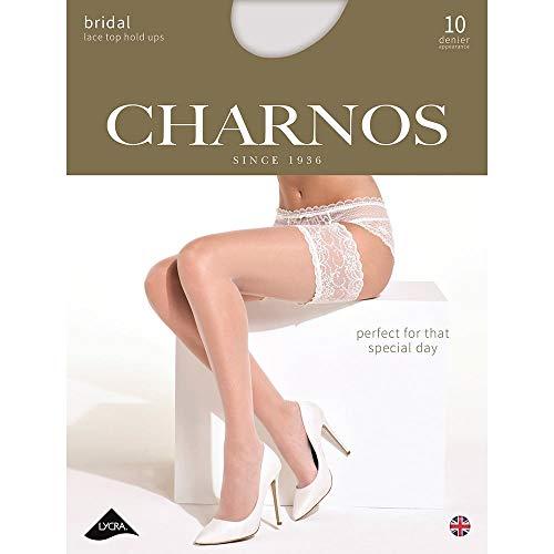 Charnos Damen Strapse mit Spitze, 1 Paar, 10 DEN, in 2 Farben  - Elfenbein - Ivory - Größe L