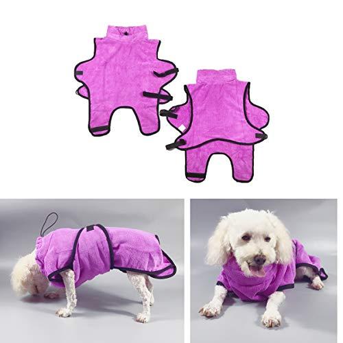 Tineer Haustier Bademantel Super Wasser aufnehmender Welpen Badetuch Schnell trocknender Bademantel Hält Ihren Hund Katze saubere warme Decke (XS, Purple)
