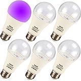 Bayshe UV LED Black Light Bulbs,9W E26 Blacklight A19 UVA Level 395-400nm for UV Art,Ultraviolet Light for Halloween and Blacklight Parties,Body Paint (UV Black Light)