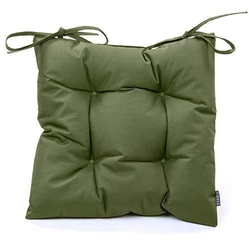 Sitzkissen im Chesterfield-Stil, 35 cm x 35 cm, für Innen- und Außenbereich, Garten, Esszimmer salbeigrün