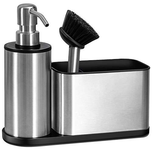 Oriware Spülbecken Caddy Organizer mit Integriertem Seifenspender - Schwammhalter Spülmittelspender für die Küche - Edelstahl Rostfrei