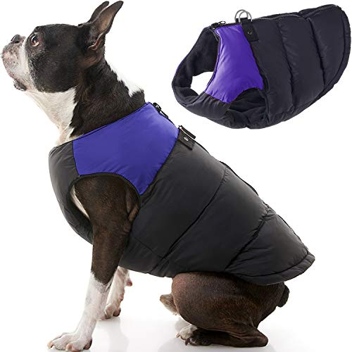 Gooby Padded Dog Vest - Purple, X-Large - Zip Up Dog Jacket Coat with D Ring Leash - Small Dog Sweater with Zipper Closure - Dog Clothes for Small Dogs Girl or Boy for Indoor and Outdoor Use