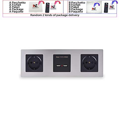 Pannello a parete in acciaio inossidabile Doppia presa 16A Presa elettrica UE Doppia porta di ricarica intelligente USB Uscita 5V 2A Colore nero,110-250V,Wall Socket