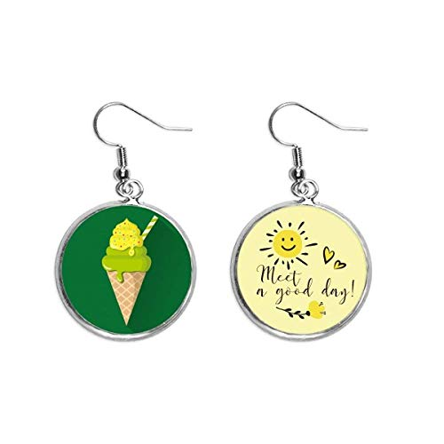 Ohrringe mit grünen Matcha-Eiszapfen, Eis am Stiel, Sonnenblumen-Ohrringe, Schmuck