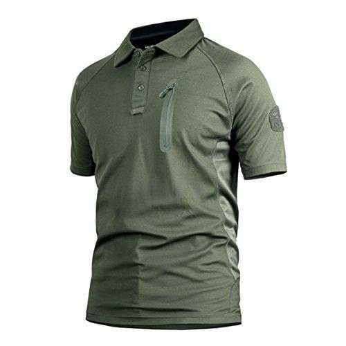 QCHENG Militare Tattico Uomo Polo Maglietta T-Shirt Camuffare Manica Corta Camicia Asciugatura Rapida Verde dell'Esercito Large
