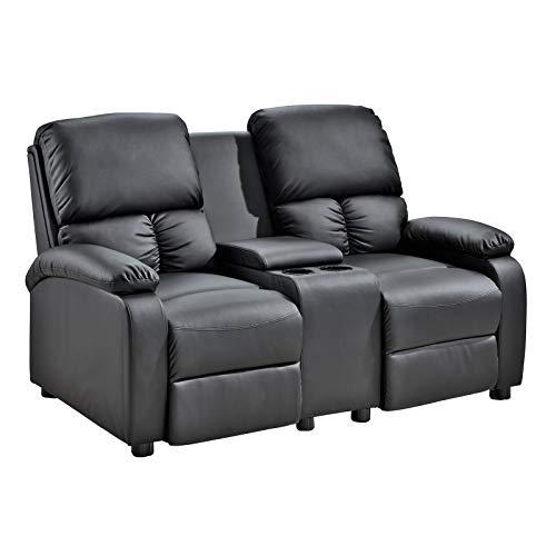 2er Kinosessel Star - Zweisitzer Doppelsitzer Cinema Relaxsessel TV-Sessel mit Getränkehalter verstellbarer Fernsehsessel mit Liege-/ Relaxfunktion, Taschenkernfederung schwarz dick gepolstert