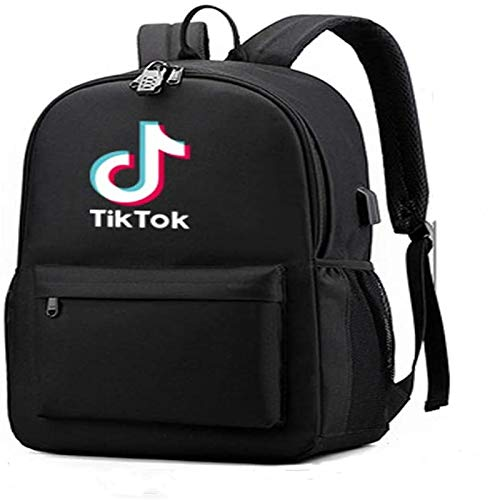 TIK -Tok Douyin,Travel Business Anti Theft Slim Durable Laptops Backpack with Audio Cable USB Charging Port Anti-Theft Lock & Pencil Case, Water Resistant College School Bag,Gifts (Black)