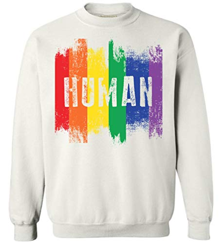 Awkward Styles Human Sweatshirt Human Unisex Crewneck LGBT Clothes Gay Rights Sweatshirt White 5XL