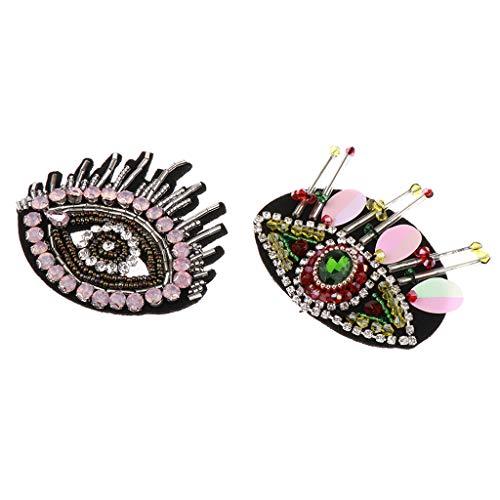 IPOTCH 2X Parche de Ojos con Abalorios de Costura Apliques Artesanales para Fabricación de Joyas, Embalaje de Regalo