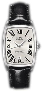 MIDO - Baroncelli Tonneau M0031071603300 - Reloj de Mujer automático, Correa de Piel Color Negro