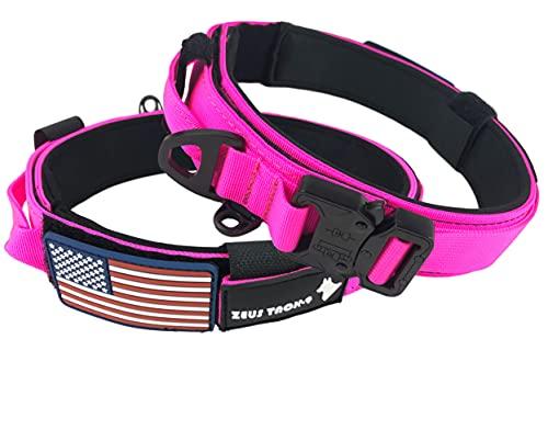 ZeusTacK9 Tactical Hundehalsband K9 Pet Dogs – 3,8 cm breit, strapazierfähig, Militär-Stil, Metallschnalle, Schnellverschluss, USA-Flagge, Patch – Kontrollgriff für das Training, LRG, rose