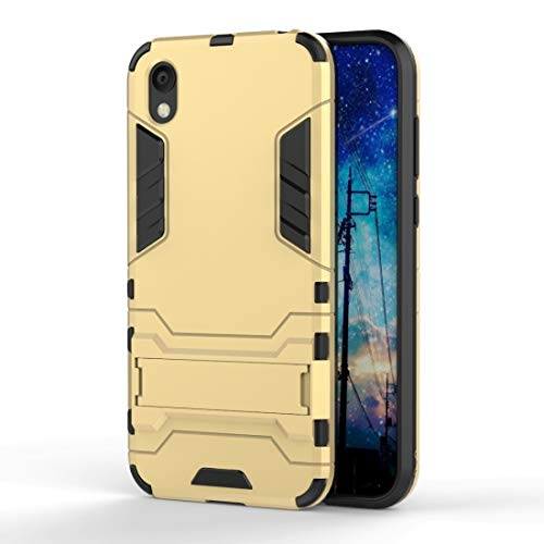 JIAHENG Phone Case Shockproof PC + TPU Case for Huawei Honor 8S, with Holder PU Leather Cover Shell (Color : Gold)