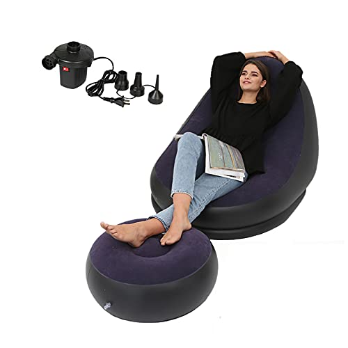 LEMLIT Inflatable Flocking Leisure Sofa,Inflatable Lounge Chair with Round Stool Electric Air Pump Lazy Sofa Ergonomic Design for Home Office Travel