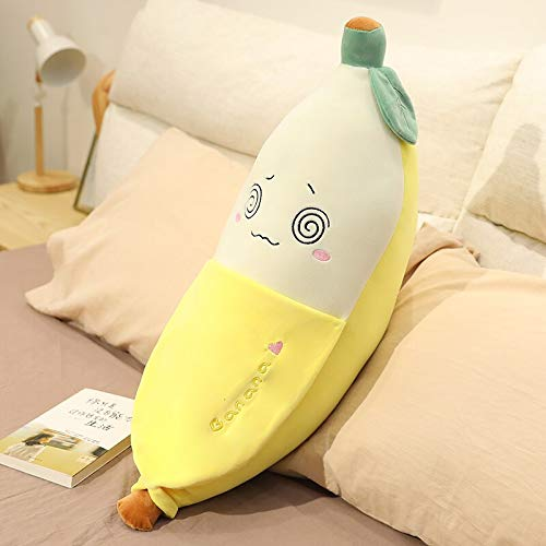 MEKTSA 45-90cm Juguete de plátano pelado Emocional Relleno Blando de Felpa decoración de Frutas Planta de Peluche para niños Regalo de cumpleaños 45cm mareado