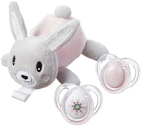 Paci Snuggie Stuffed Animal with Two Pacifiers 0 6 Months Bunny product image