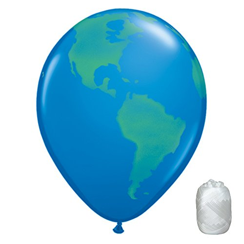 "10 Pack 11"" Globe Earth World Latex Balloons with Matching Ribbons"