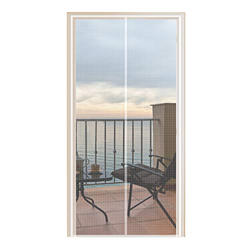 YUFER Magnetic Screen Door 32×80 Fiberglass Mesh Curtain Door Screen with Full Frame Hook&Loop -Fits Door Size 32x80 Inch Max,White