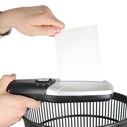 Destructeur de Documents Electrique - Portatif/Compact – Déchiqueteuse Broyeur Papier – Alimentation : Pile/USB - 26 x 8 CM - Gris & Noir