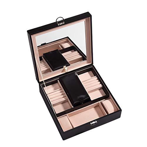 ASYKFJ Caja de almacenaje Joyería cosmética Caja de pañuelos de Gran Capacidad Pendientes Pendientes Anillos Horquillas de Piel de contenedores (Color : Black)