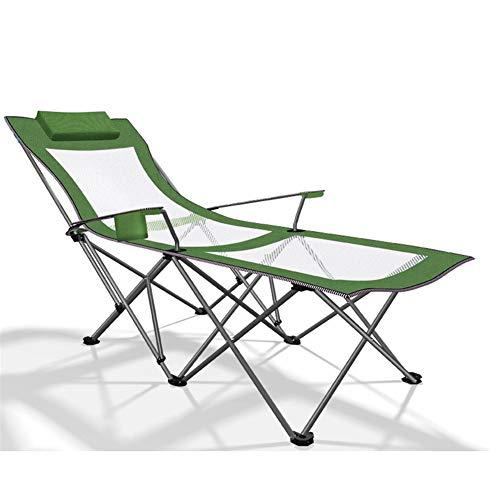 Chaise longue Chaise longue portable pliant Pause déjeuner vert Lit 170 * 87 * 70cm, extérieur Chaises pliantes Bureau pliant lits avec Respirant tissu synthétique c2018 (Color : Green)