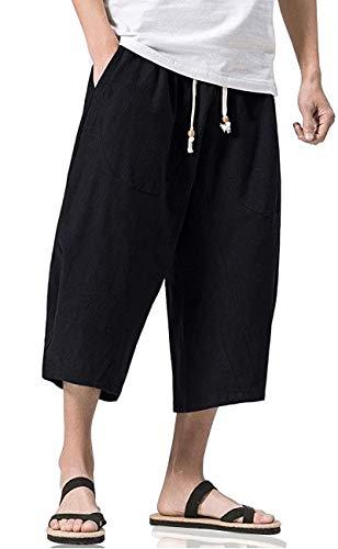 MIZOK Mens Casual Baggy Cotton Linen Pocket Lounge Harem Pants Beach Long Shorts (Black,L)