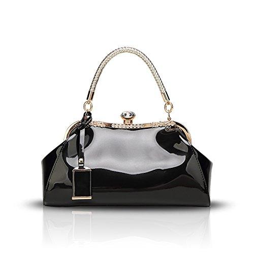 Tisdaini Donna Borse a mano vernice diamante moda Borse a spalla Borse a tracolla Borse Tote borse desigual Nero