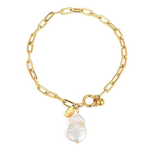 Tribal Spirit Armband Edelstahl Gliederarmband Barockperle Süsswasserperle zuchtperle echte Perle Farbe Gelbgold