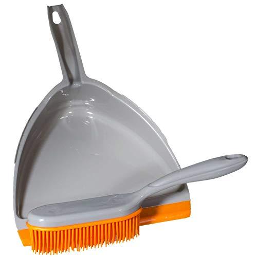 SIDCO Kehrgarnitur Kehrschaufel mit Gummibesen Handbesen Kehrblech Handfeger Set