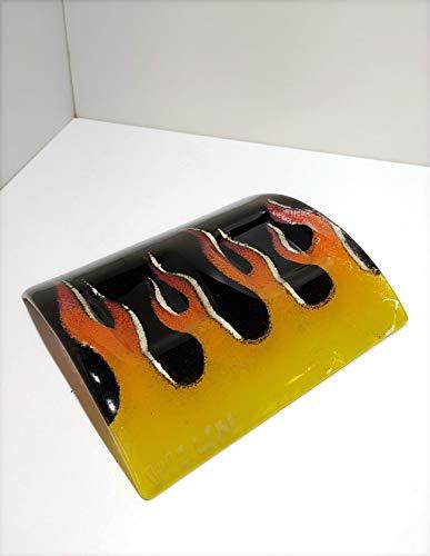 FOC - Portavelas de vidrio artesanal con llamas