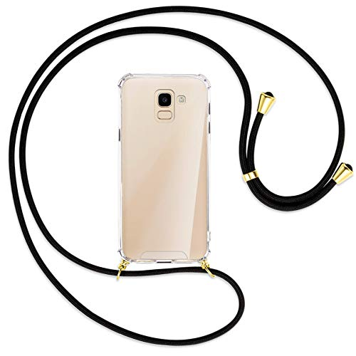 mtb more energy® Collana Smartphone per Samsung Galaxy J6 2018 (SM-J600, 5.6'') - Nero/Oro - Custodia indossabile per Collo - Cover con Cordoncino Tracolla
