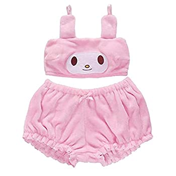 My Melody Cosplay Costume Bra Anime Velvet Set with Bloomers Cute Loli  Pink S
