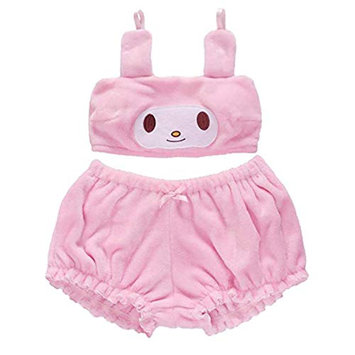 My Melody Cosplay Costume Bra Anime Velvet Set with Bloomers Cute Loli (Pink, S)