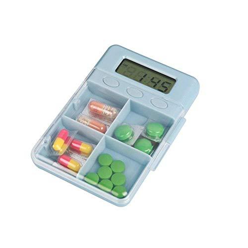 BHAGIRATHI MALL Medicine Timer Box 4 Grids Mini Pill Box Medicine Case Tablet Storage Box with Medicine Reminder Alarm