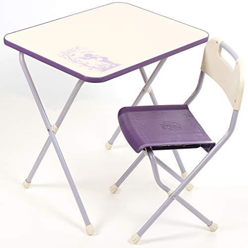 NiKA kids Kindermöbel-Set, Klapptisch und Klappstuhl, für Kinder von 3 bis 7 Jahre, METALLBASIS (Violett)