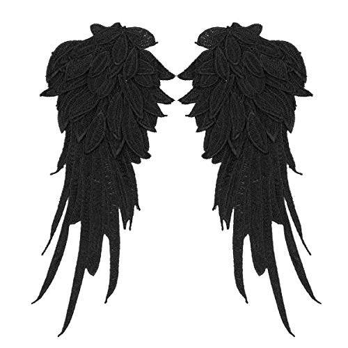 dPois 1 Paar Engelsflügel Bestickt Nähen Aufkleber Patch Aufkleber Weihnachten Engel Zubehör Karneval Fasching Halloween Kostüm Verkleidung Weinachtskostüm Schwarz A S