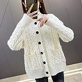 ZXCHB Suéter de mujer Cardigan Otoño Ropa de las mujeres, chaqueta de punto flojo Femenino Primavera Abrigo de otoño Suéter (Color : White, Size : S code)