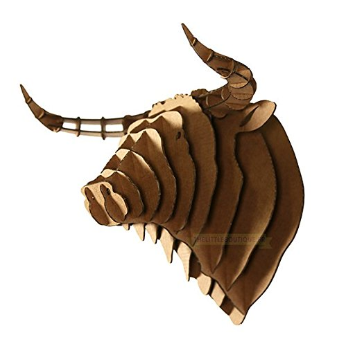Trofeo 3D en cartón, Puzzle, Cabeza de Toro–Tamaño XXL: L 49cm x H 44cm x P 36cm