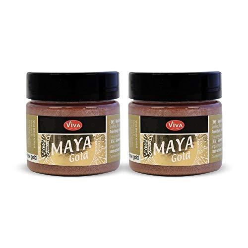 Viva Decor Maya Gold 2 x 45 ml (Roségold) - Intensiv glänzende & Schimmernde Effektfarbe