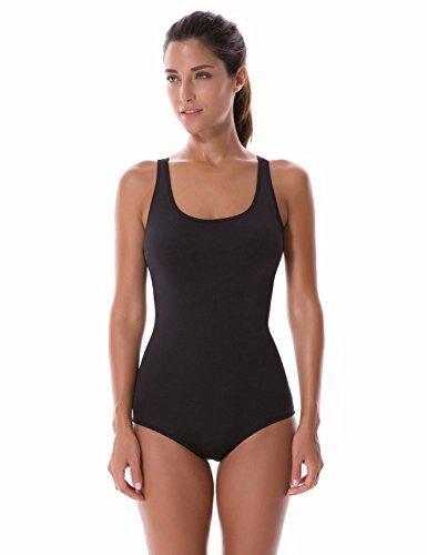 SYROKAN Damen Einteiler Sports Badeanzug - Ringerrücken bügelloser Schwimmanzug, Schwarz-01, 40 inch