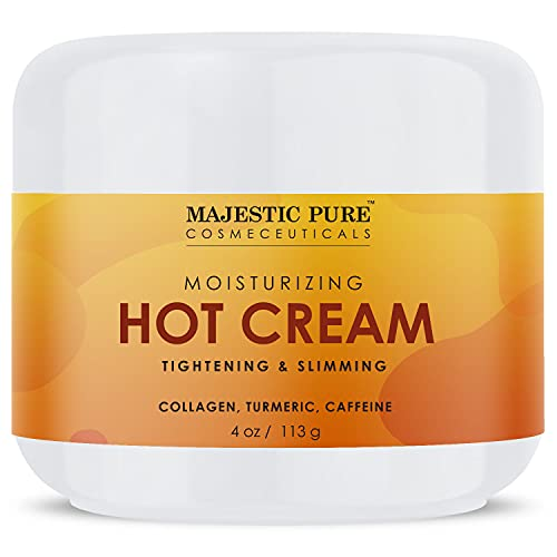 Majestic Pure Hot Cream - for Cellulite, Soothing, Relaxing, Tightening & Slimming - with Collagen, Turmeric, Vitamin A, E, - Body Firming Cream, 4 oz