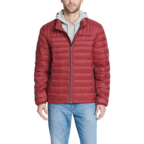 Tommy Hilfiger Men's Ultra Loft Lightweight Packable Puffer Jacket (Standard and Big & Tall), Red Pepper, Medium