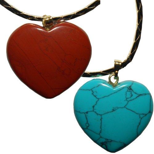 Dos collares corazones jaspe rojo turquenita cadena colgantes de corazón piedras semi preciosas joyas (rojo y howlita azul turquesa)