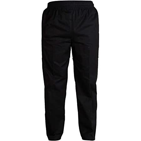Chef Pants Trousers with Elastic Waist Cook Waiter Work Uniform, 4 Patterns 5 Sizes for Choose - Black XXL