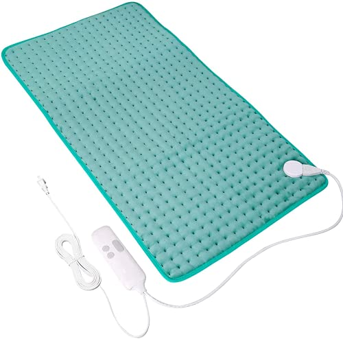 """Heating Pads for Back Pain,18""""x33"""" Large Electric Heating Pads with Auto Shut Off,6 Temperature Settings, Super-Soft, Fast Heating for Neck Back Shoulder Relief and Cramps-Green"""
